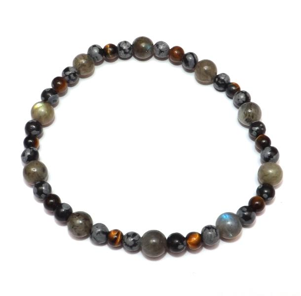 Bracelet Oya Labradorite - Obsidienne Neige - Oeil de Tigre