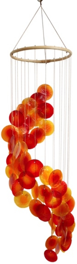 Mobile coquillages - Jaune Orange et Rouge - Spirale