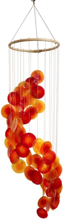 Mobile coquillages  Jaune Orange et Rouge  Spirale