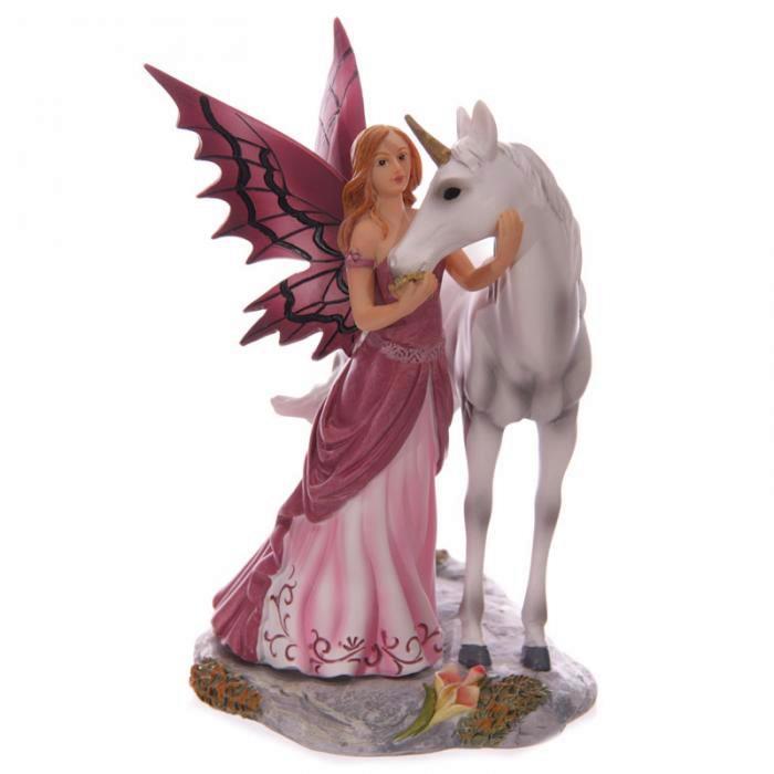 Figurine Fée Avalon avec Licorne (18 cm)