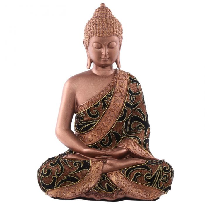 Statue Bouddha Thaï zen Marron et Doré avec Tissu (30 cm)