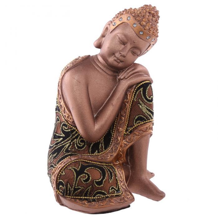 Statue Bouddha Thaï Doré et Tissu Tête sur Genou Gauche (19 cm)