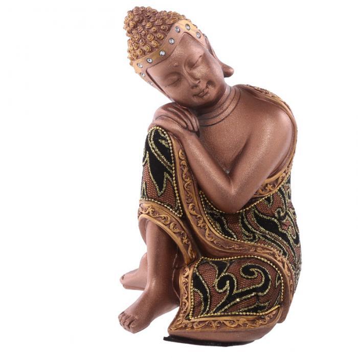 Statue Bouddha Thaï Doré et Tissu Tête sur Genou Droit (19 cm)