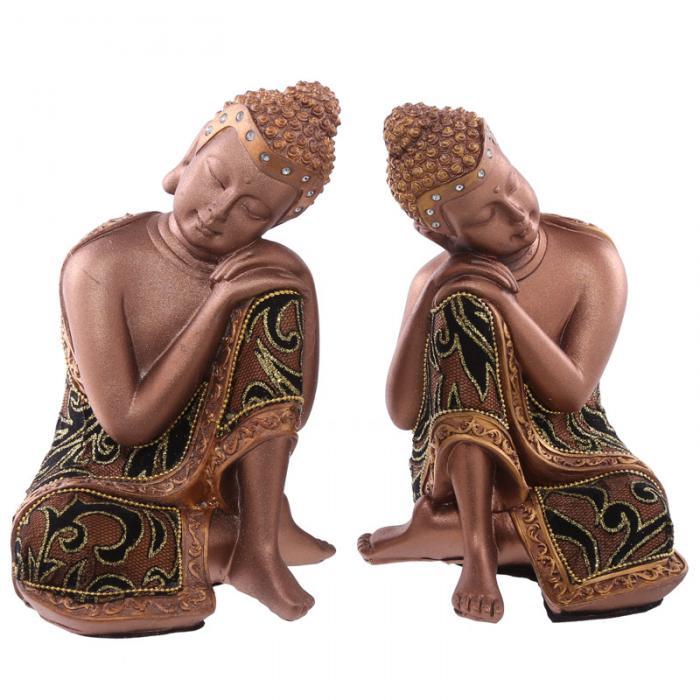 Statue Bouddha Thaï Doré et Tissu Tête sur Genou lot de deux (19 cm)