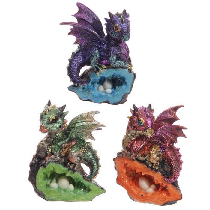 Bébé Dragon Rouge, Vert, Violet sur Géode (Lot de 3)