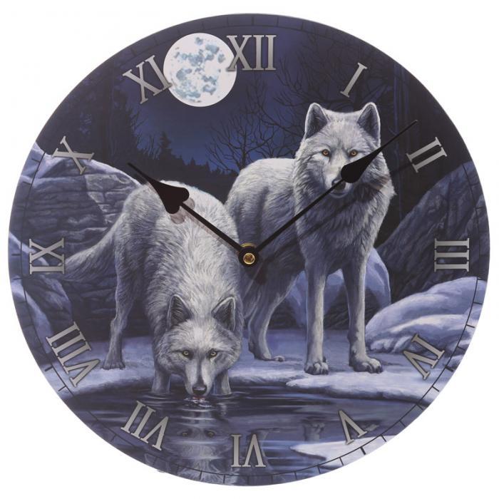 Horloge - Loups Blancs Clair de Lune (Par Lisa Parker)