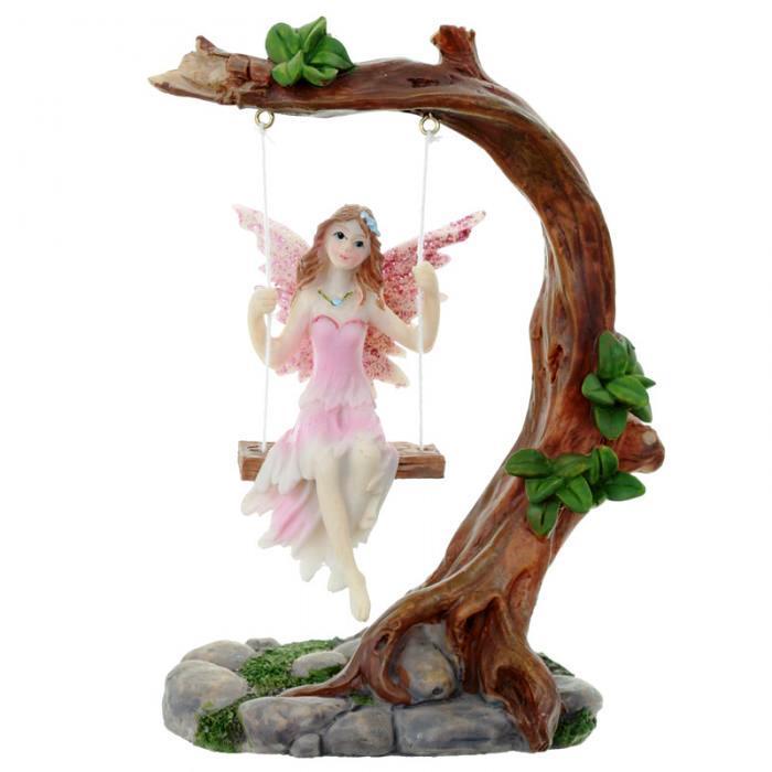 Figurine Fée des Fleurs sur balançoire (14 cm)