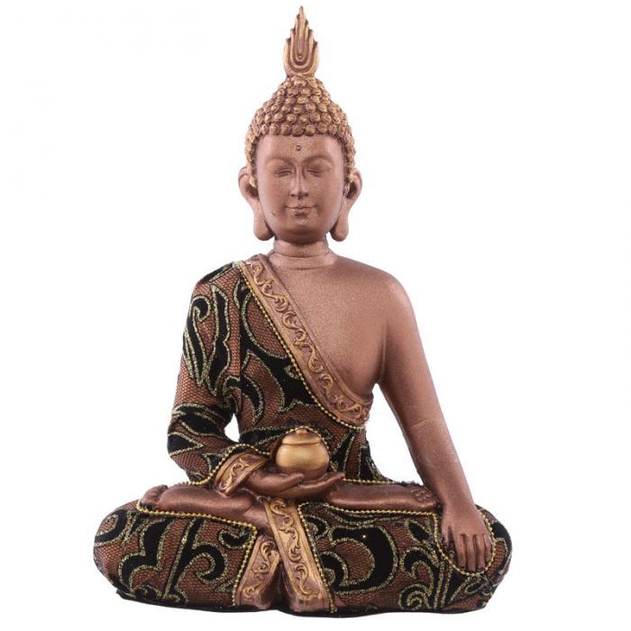 Statue Bouddha Thaï zen Marron et Doré avec pot (23,5 cm)