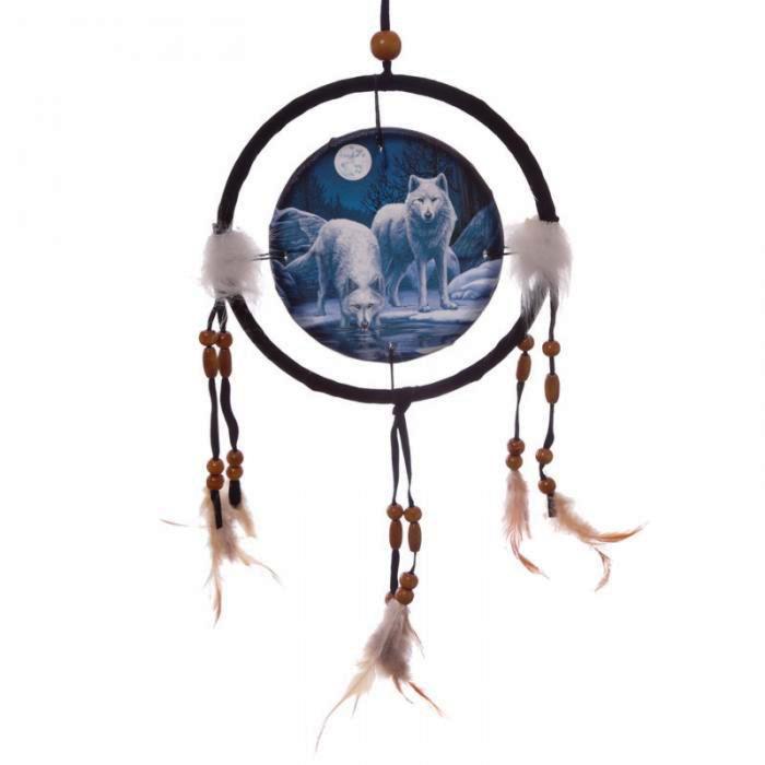 Attrape-Rêves Loups Blancs Clair de Lune (16 cm)
