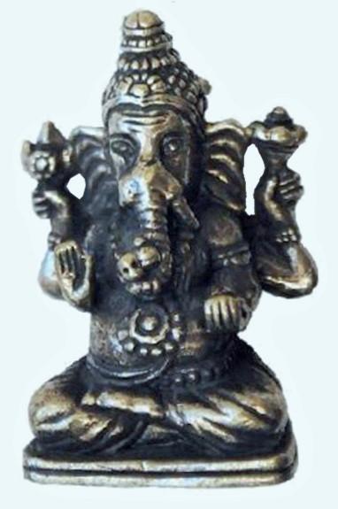 Statuette Ganesh métal argenté (3 cm)