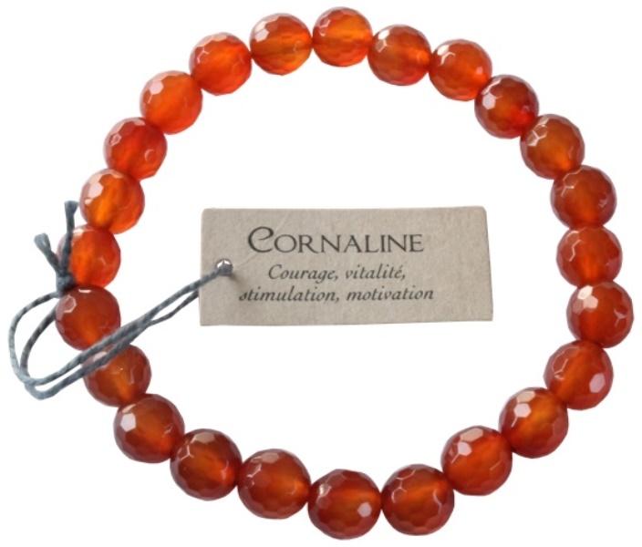 Bracelet Cornaline Perles facettées (8 mm)