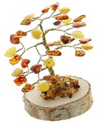 Arbre du Bonheur Ambre Bois (8 cm) (1)