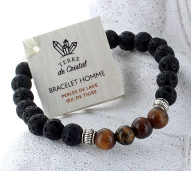 Bracelet Perles de Lave et Oeil de Tigre (8mm)