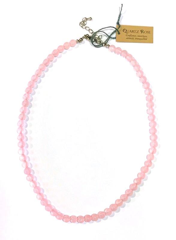 Collier Quartz Rose - perles 6 mm (1)