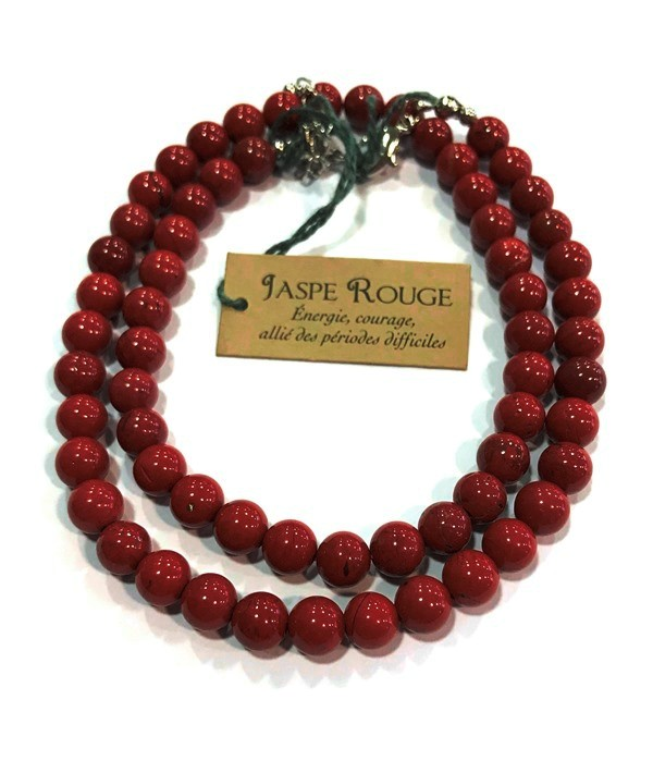 Collier Jaspe rouge - perles 6 mm