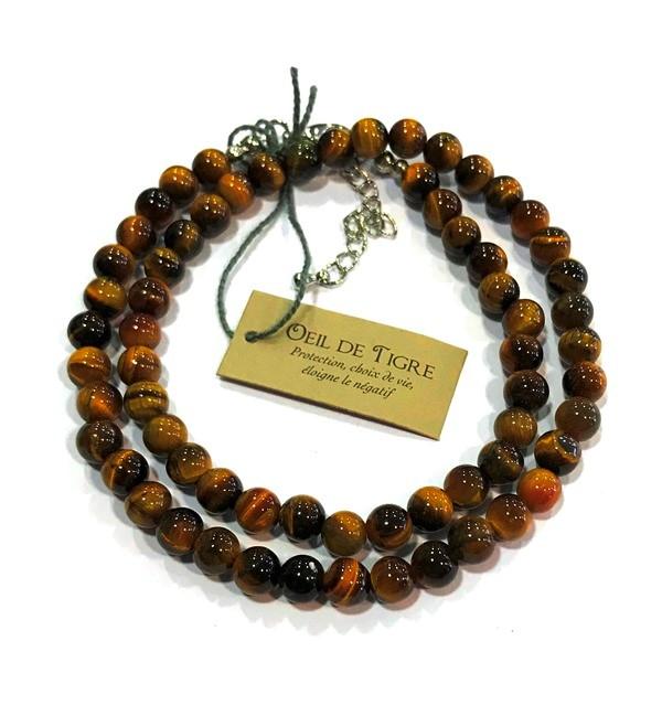 Collier Oeil de Tigre - perles 6 mm