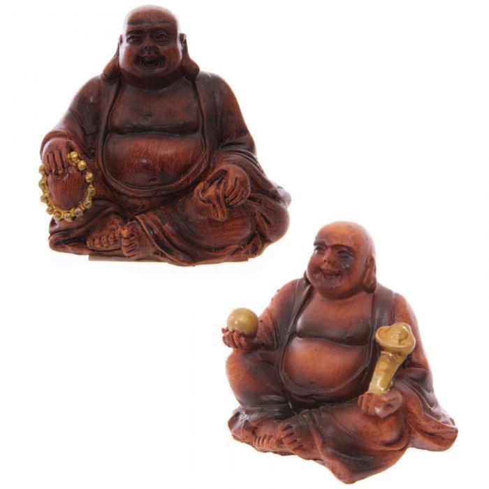 Mini Bouddha Porte-Bonheur, effet bois (lot de 2)