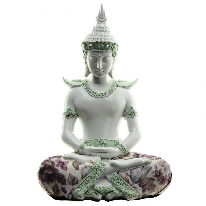 Bouddha Thaï Méditation Blanc (26 cm)