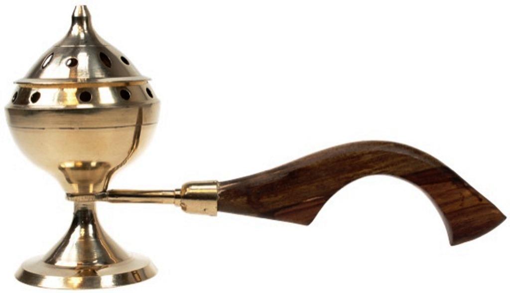 Encensoir laiton avec manche en Bois | Diamètre 6,5 cm