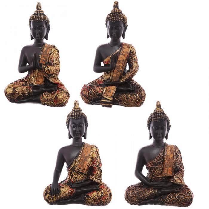 Statue Bouddha Thaï zen rouge Méditant lot de 4 (15 cm)