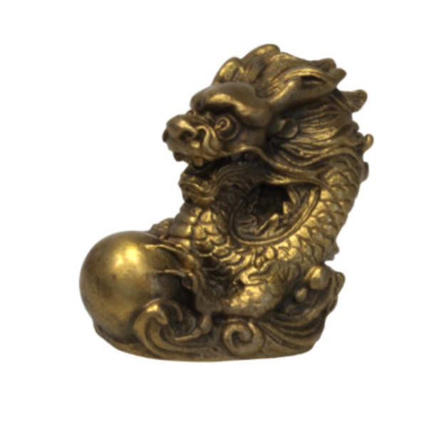 Statue Dragon Signe Chinois (Laiton Doré 5 cm)