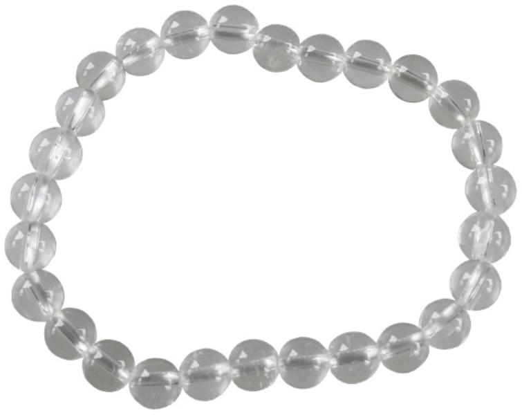 Bracelet Perles Rondes Cristal de roche - 6 mm