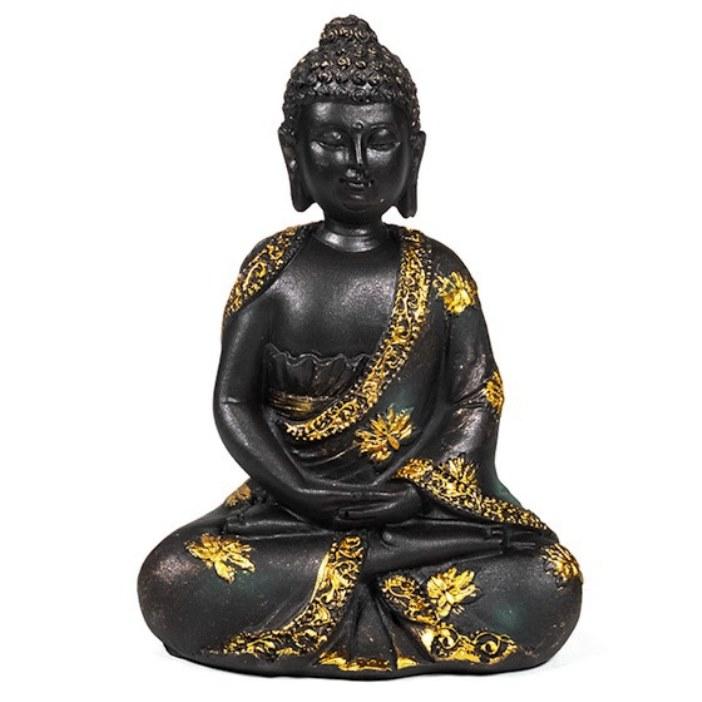 Bouddha Thaï Méditation Noir et Doré Assis Statue (15 cm)