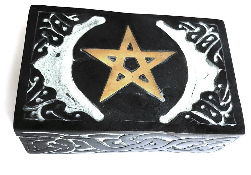 Boîte à Tarot Pentacle en pierre (15x10 cm)
