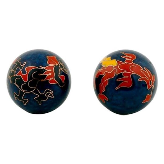 Boules Qi Gong Bleu Motif Dragon
