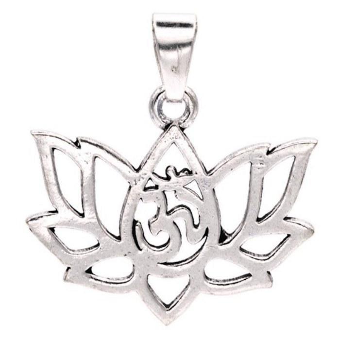 Pendentif Lotus Om (Couleur argentée)
