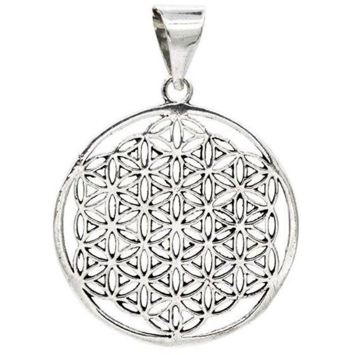Médaille Fleur de Vie métal argenté (3 cm)
