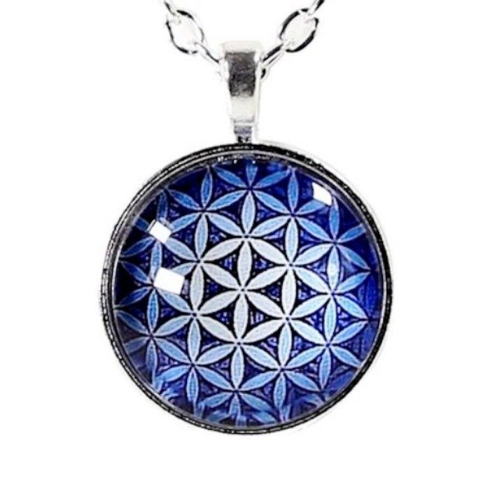 Collier Pendentif Fleur de Vie Bleu