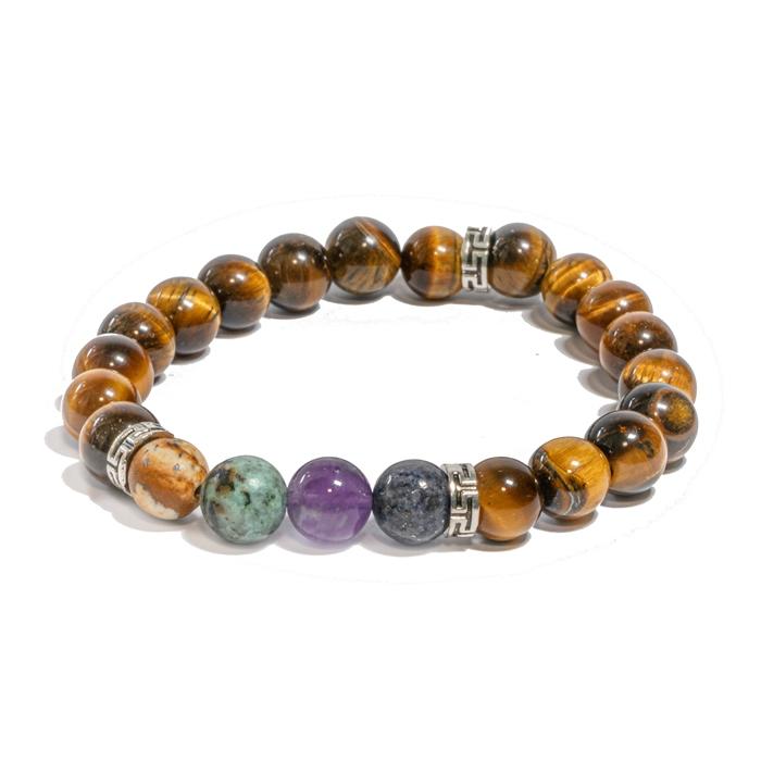 Bracelet oYa le Bonheur est un Choix Oeil de tigre et 4 pierres piliers