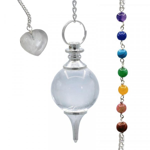 Pendule Séphoroton Cristal de roche chaînette Chakra