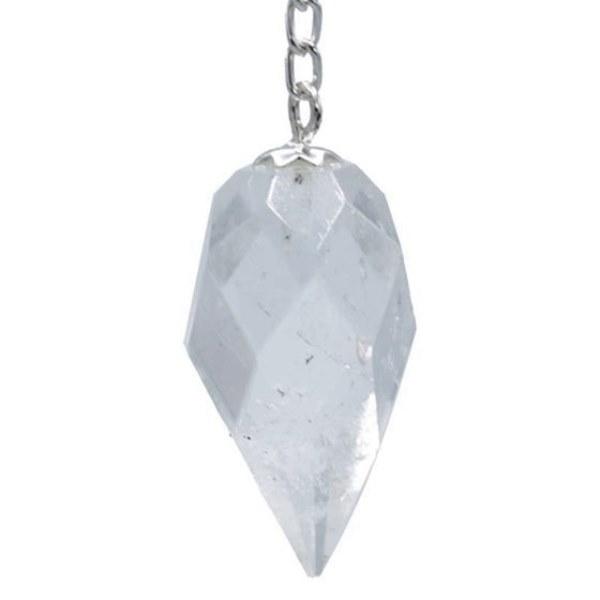 Pendule Cristal de Roche à Facettes Goutte