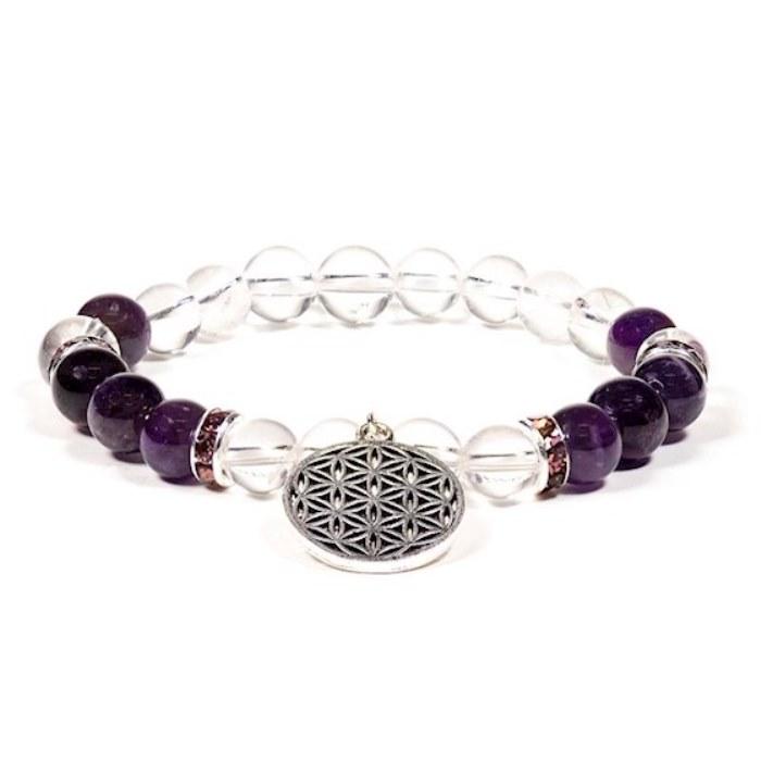 Bracelet améthyste et cristal de roche | Motif fleur de vie
