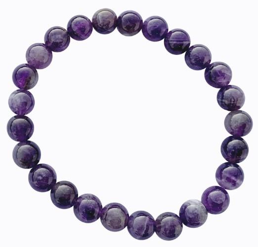 Bracelet Améthyste Perles Rondes (8 mm)