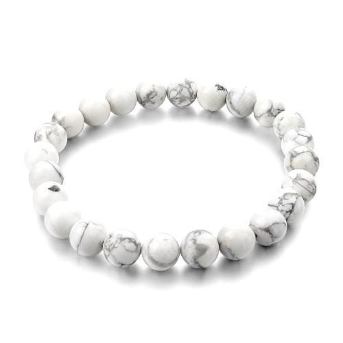 Bracelet Howlite | Perles de 8 mm