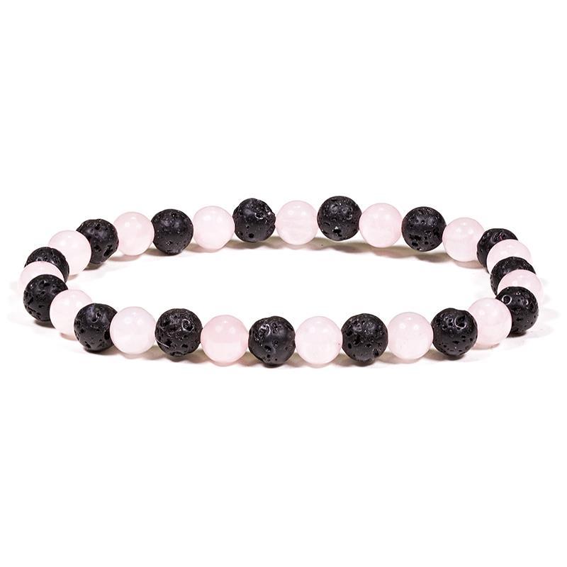 Bracelet en lave et quartz rose | perles de 6 mm