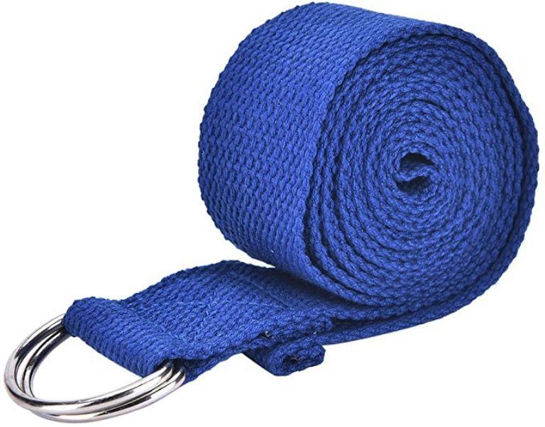 Sangle de yoga avec anneaux en D | Couleur bleu 250 x 3 cm