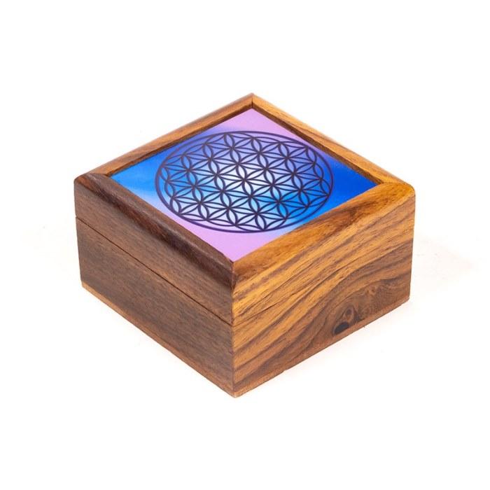 Boîte à bijoux Fleur de Vie | 6,5 x 6,5 cm