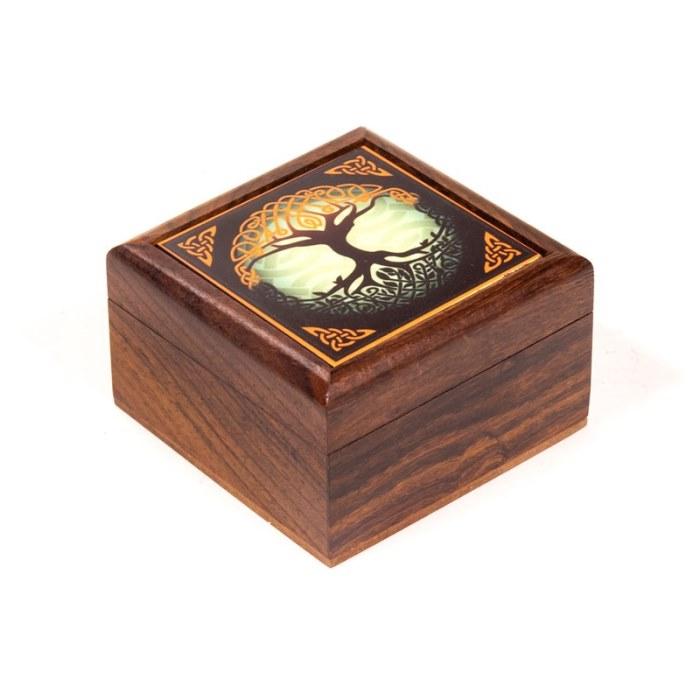 Boîte à bijoux motif Arbre de Vie | 6,5 x 6,5 cm