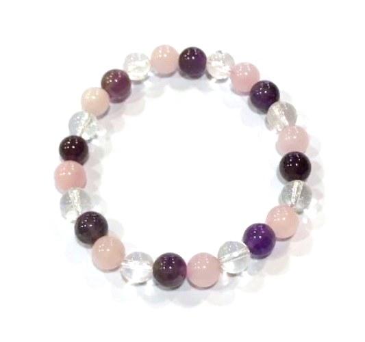 Bracelet triangle d'or Améthyste Quartz rose et Cristal de roche | Perles de 8 mm