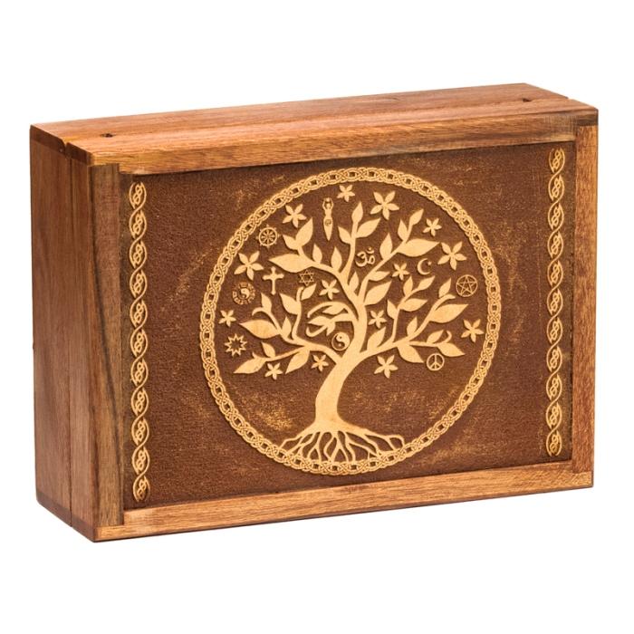 Boîte à tarots en bois avec motif Arbre de Vie | 17,5 X 13 cm