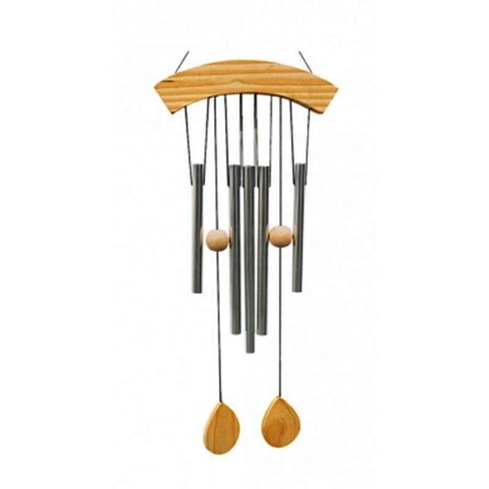 Carillon à vent 5 tubes en bois naturel | Hauteur 65 cm
