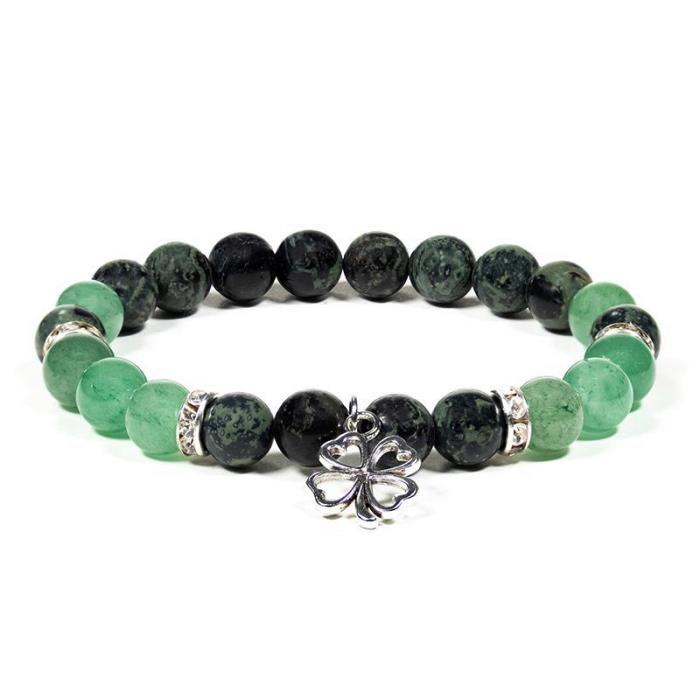 Bracelet en Jaspe Kambaba et Aventurine avec trèfle | Perles de 8 mm