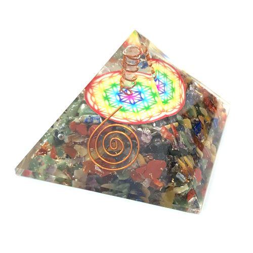 Orgonite sept chakras et Fleur de Vie en forme de pyramide