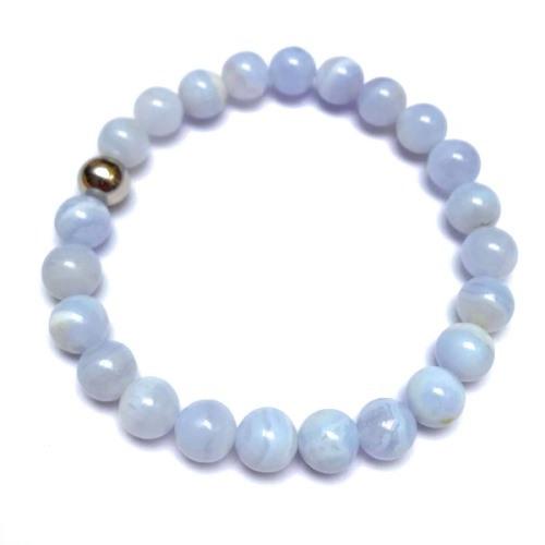 Bracelet oYa Calcédoine Bleue   Perles 8 mm