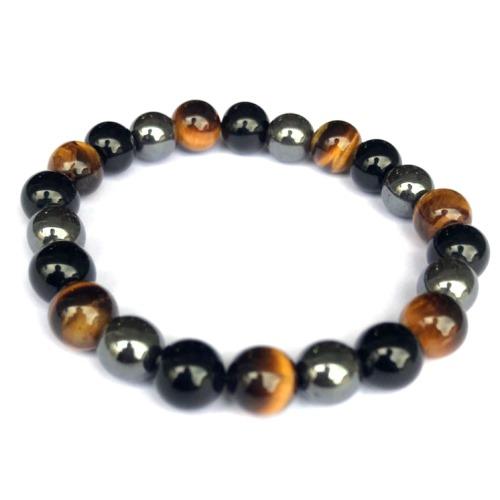 Bracelet Oeil de tigre, Obsidienne, Hématite | Perles de 8 mm