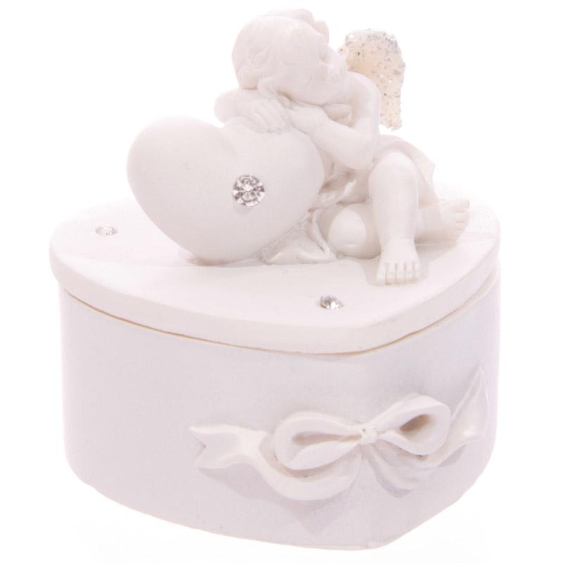 Chérubin Blanc endormi sur Boîte Coeur Modèle B
